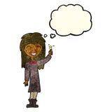 φιλικό κορίτσι μαγισσών κινούμενων σχεδίων με τη σκεπτόμενη φυσαλίδα Στοκ Φωτογραφία