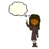 φιλικό κορίτσι μαγισσών κινούμενων σχεδίων με τη σκεπτόμενη φυσαλίδα Στοκ Φωτογραφίες