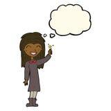 φιλικό κορίτσι μαγισσών κινούμενων σχεδίων με τη σκεπτόμενη φυσαλίδα Στοκ εικόνα με δικαίωμα ελεύθερης χρήσης