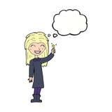 φιλικό κορίτσι μαγισσών κινούμενων σχεδίων με τη σκεπτόμενη φυσαλίδα Στοκ Εικόνες