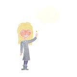 φιλικό κορίτσι μαγισσών κινούμενων σχεδίων με τη σκεπτόμενη φυσαλίδα Στοκ εικόνες με δικαίωμα ελεύθερης χρήσης