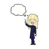 φιλικό κορίτσι μαγισσών κινούμενων σχεδίων με τη σκεπτόμενη φυσαλίδα Στοκ φωτογραφίες με δικαίωμα ελεύθερης χρήσης