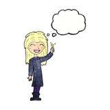 φιλικό κορίτσι μαγισσών κινούμενων σχεδίων με τη σκεπτόμενη φυσαλίδα Στοκ Εικόνα