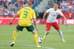 Φιλικό ποδοσφαιρικό παιχνίδι Arkadiusz Milik Inernational Στοκ Εικόνα