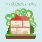 Φιλικό προς το περιβάλλον σπίτι infographic Στοκ εικόνες με δικαίωμα ελεύθερης χρήσης