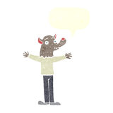 φιλικό werewolf κινούμενων σχεδίων με τη λεκτική φυσαλίδα Στοκ φωτογραφία με δικαίωμα ελεύθερης χρήσης