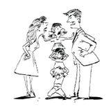 Φιλονικία στην οικογένεια, mom και την πάλη μπαμπάδων, ηρεμία παιδιών απεικόνιση αποθεμάτων