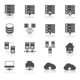 Φιλοξενώντας εικονογράμματα τεχνολογίας καθορισμένα Στοκ Φωτογραφίες