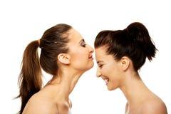Φιλώντας φίλος γυναικών στο μέτωπο Στοκ Φωτογραφία
