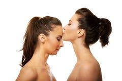 Φιλώντας φίλος γυναικών στο μέτωπο Στοκ Εικόνες