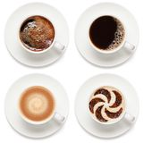Φλιτζάνια του καφέ που απομονώνονται στο άσπρο υπόβαθρο στοκ εικόνα