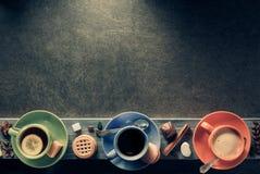 φλιτζάνι του καφέ, κακάο και τσάι στοκ φωτογραφία
