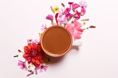 Φλιτζάνι του καφέ, κακάο στα ρόδινα χρώματα κοραλλιών στοκ φωτογραφία με δικαίωμα ελεύθερης χρήσης