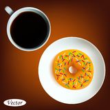 Φλιτζάνι του καφέ με doughnut απεικόνιση αποθεμάτων