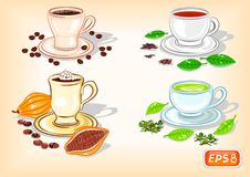 Φλιτζάνι του καφέ, σοκολάτα, μαύρο και πράσινο τσάι διανυσματική απεικόνιση