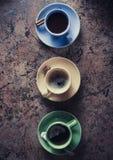 φλιτζάνι του καφέ, τσάι και κακάο στοκ φωτογραφίες