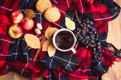 Φλιτζανιών του καφέ της Apple μπισκότων κανέλας σταφυλιών ξύλινη υποβάθρου τοπ άποψη έννοιας τρόπου ζωής φθινοπώρου φθινοπώρου γε Στοκ φωτογραφία με δικαίωμα ελεύθερης χρήσης