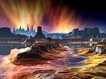 Φλογερή αυγή πέρα από τον απόμακρο κόσμο διανυσματική απεικόνιση
