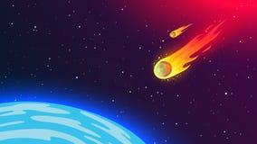 Φλογερός πετώντας μετεωρίτης στη γη Κοσμικό φαινόμενο επικίνδυνο στην ανθρωπότητα ελεύθερη απεικόνιση δικαιώματος
