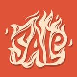 Φλογερό σχέδιο τυπογραφίας πώλησης αποκριών για τη διαφήμιση εμβλημάτων στοκ εικόνες