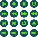 Φλοιός και ανοικτό πράσινο εικονίδια συσκευών αναπαραγωγής πολυμέσων Ελεύθερη απεικόνιση δικαιώματος