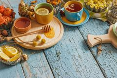 Φλυτζάνια με το βοτανικό τσάι και τα κομμάτια του λεμονιού, των ξηρών χορταριών και των διαφορετικών διακοσμήσεων Στοκ Φωτογραφία