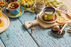 Φλυτζάνια με το βοτανικό τσάι και τα κομμάτια του λεμονιού, των ξηρών χορταριών και των διαφορετικών διακοσμήσεων Στοκ φωτογραφίες με δικαίωμα ελεύθερης χρήσης