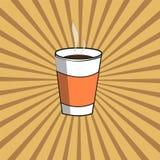 Φλυτζάνι εγγράφου με τον καυτό καφέ σε ένα ακτινοβόλο υπόβαθρο διανυσματική απεικόνιση