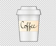 Φλυτζάνι καφέ εγγράφου στο διαφανές υπόβαθρο $cu καφέ συλλογής ελεύθερη απεικόνιση δικαιώματος