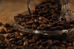 Φλυτζάνι καφέ και αρωματικός καφές φασολιών καφέ στοκ εικόνες με δικαίωμα ελεύθερης χρήσης