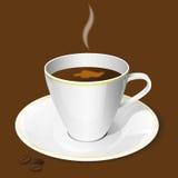 Φλυτζάνι καφέ και φασόλια καφέ απεικόνιση αποθεμάτων