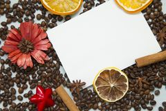Φλυτζάνι καφέ και φασόλια καφέ στοκ εικόνες