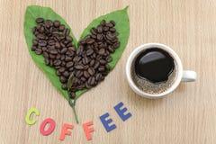Φλυτζάνι καφέ με τα φασόλια καφέ και τα φύλλα καφέ Στοκ Φωτογραφία