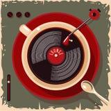 Φλυτζάνι καφέ με το βινυλίου αρχείο Εκλεκτής ποιότητας απεικόνιση φραγμών καφέδων σαλονιών Διανυσματικό αναδρομικό ύφος διανυσματική απεικόνιση
