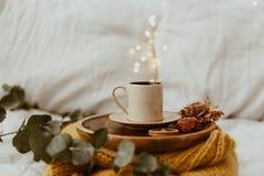 Φλυτζάνι καφέ που τοποθετείται σε έναν ξύλινο δίσκο και ένα θερμό πουλόβερ με τη θαμπάδα υποβάθρου bokeh των φω'των Πρωί στο κρεβ στοκ εικόνες με δικαίωμα ελεύθερης χρήσης