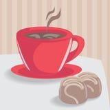 φλυτζάνι καφέ σοκολάτας κέικ Στοκ Εικόνα