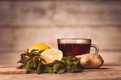 Φλυτζάνι με το τσάι, τη μέντα, το λεμόνι και την πιπερόριζα στοκ εικόνες