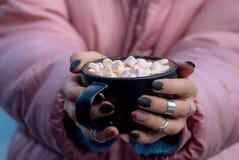 Φλυτζάνι με marshmallow στα χέρια στοκ εικόνες με δικαίωμα ελεύθερης χρήσης