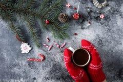 Φλυτζάνι της καυτού σοκολάτας ή του κακάου και ποικιλία των γλυκών καραμελών Χριστουγέννων Στοκ φωτογραφία με δικαίωμα ελεύθερης χρήσης