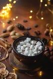Φλυτζάνι της παραδοσιακού καυτού σοκολάτας ή του κακάου με marshmallow, την κανέλα, τα καρύδια και τα καρυκεύματα στο σκοτεινό πί Στοκ εικόνες με δικαίωμα ελεύθερης χρήσης