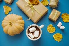 Φλυτζάνι του καυτού κακάου με marshmallows, δώρα, έγγραφο συσκευασίας, ξηρό LE Στοκ Εικόνα