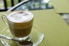 Φλυτζάνι του καφέ cappuccino, του ζεστού ποτού mocha με την κανέλα και των κοκοφοινίκων Στοκ Εικόνες