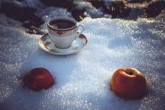 Φλυτζάνι του τσαγιού και των μήλων στο χιόνι Στοκ φωτογραφία με δικαίωμα ελεύθερης χρήσης