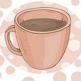 Φλυτζάνι του τσαγιού Κεραμικό φλυτζάνι με το μαύρο τσάι Ζωηρόχρωμη διανυσματική απεικόνιση στο ύφος σκίτσων Για τις επιλογές εστι απεικόνιση αποθεμάτων