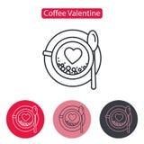 Φλυτζάνι του cappuccino με το εικονίδιο γραμμών καρδιών Στοκ Εικόνα