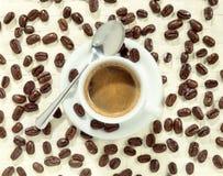 Φλυτζάνι του foamy καφέ που περιβάλλεται από τα φασόλια καφέ Στοκ Εικόνα