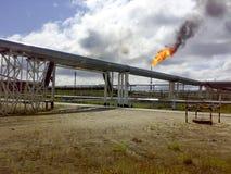 Φλόγα για την καύση του σχετικού αερίου Το τελικό σημείο του συστήματος ανακούφισης πίεσης στη εγκατάσταση πετρελαίου Στοκ Φωτογραφία
