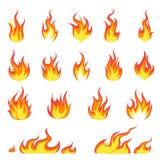 Φλόγα πυρκαγιάς κινούμενων σχεδίων Εικόνα πυρκαγιών, καυτή φλεμένος ανάφλεξη, εύφλεκτη ενεργειακή διανυσματική έννοια φλογών έκρη ελεύθερη απεικόνιση δικαιώματος