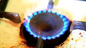 Φλόγα hob αερίου απόθεμα βίντεο