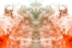 Φλόγες αύξησης από τις λέσχες του γκρίζου καπνού σε ένα άσπρο υπόβαθρο που απεικονίζει τη μυστική σκιαγραφία του κεφαλιού ενός va στοκ φωτογραφία με δικαίωμα ελεύθερης χρήσης